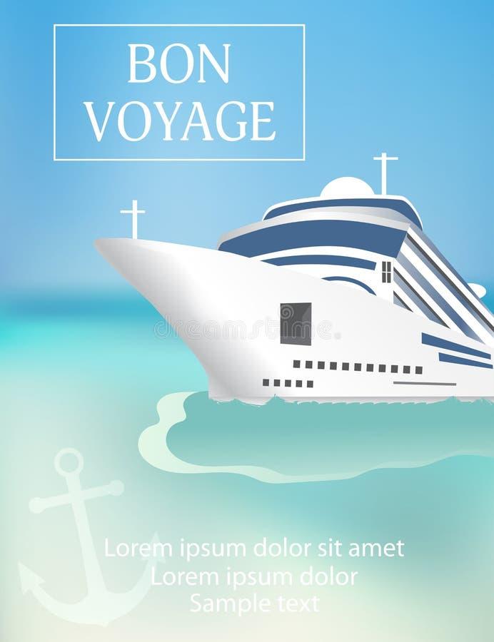 """De affiche van het cruiseschip krantekop met van de """"Bon VoyageÂ"""" Transatlantisch l stock illustratie"""