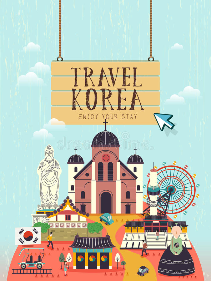 De affiche van het de reisconcept van Zuid-Korea royalty-vrije illustratie
