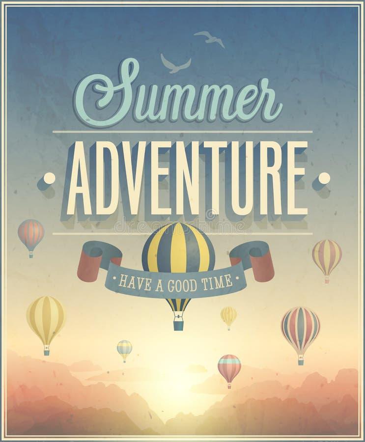 De affiche van het de zomeravontuur vector illustratie