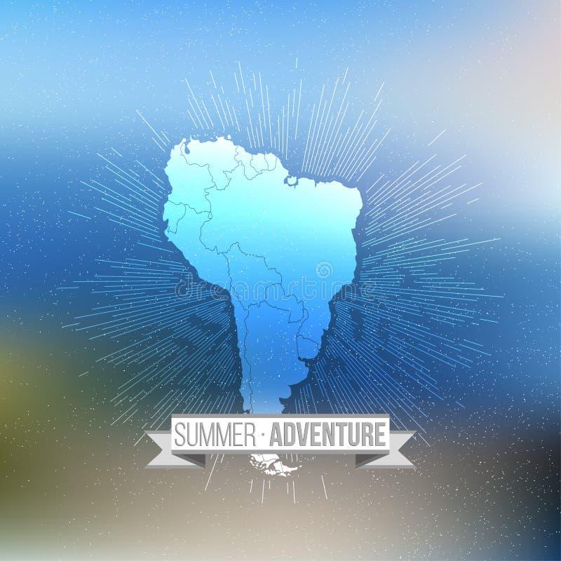 De affiche van het de zomeravontuur De kaart van Zuid-Amerika met vector illustratie
