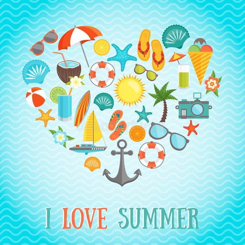 De Affiche van het de zomerhart vector illustratie