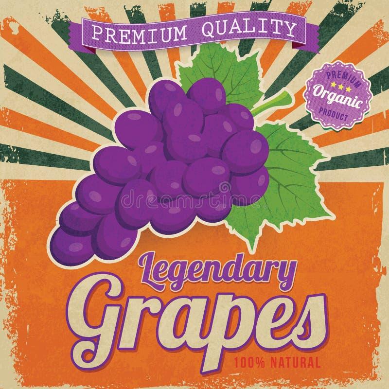 De affiche van het druivenetiket stock illustratie