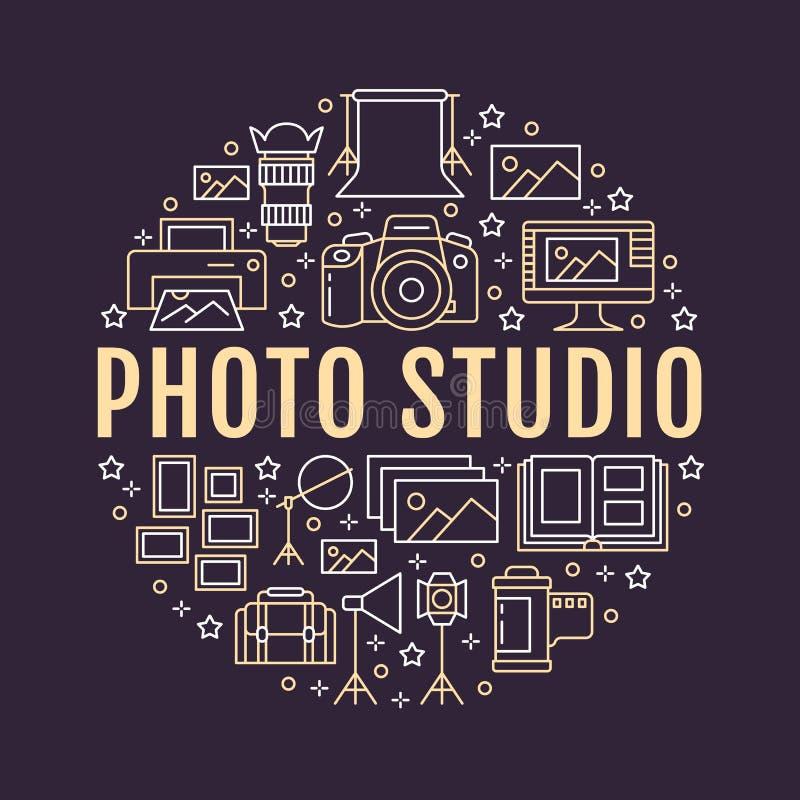 De affiche van het fotografiemateriaal met vlakke lijnpictogrammen Vectorcirkelillustratie, concept voor photostudiobrochure Digi royalty-vrije illustratie