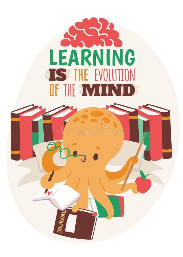 De affiche van het de holdingsvoorbeeldenboek van de octopusleraar, boekglazen, dagboek, appel, wijzer vectorillustratie Kleurrij royalty-vrije illustratie
