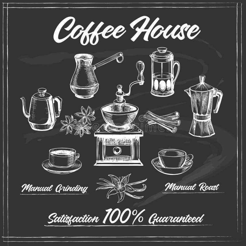 De affiche van het koffiehuis op bord royalty-vrije illustratie