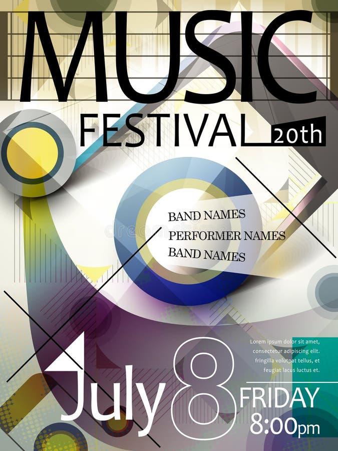 De affiche van het muziekfestival royalty-vrije illustratie