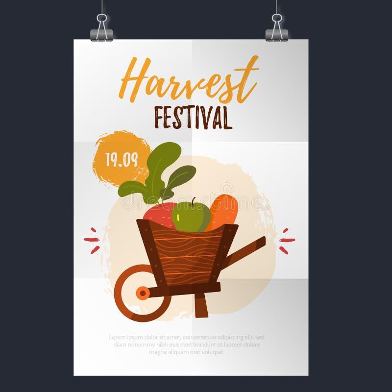 De Affiche van het oogstfestival met wortel, appel en bieten Vector illustratie vector illustratie