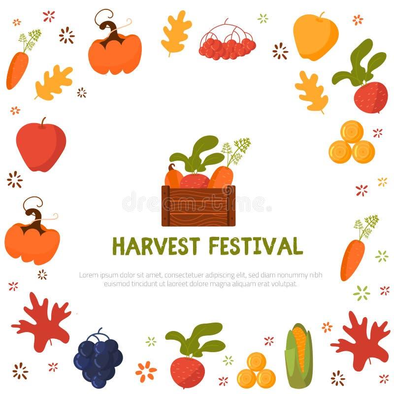 De Affiche van het oogstfestival met wortel, appel en bieten Vector illustratie stock illustratie