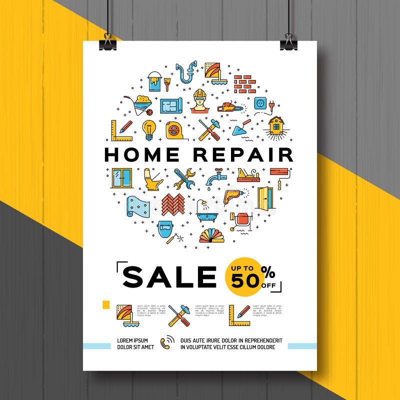 De Affiche van het reparatiehuis, het malplaatje van het Vernieuwingshuis Verkoopvlieger, Vectorillustratie, vlakke lijnpictogram stock illustratie