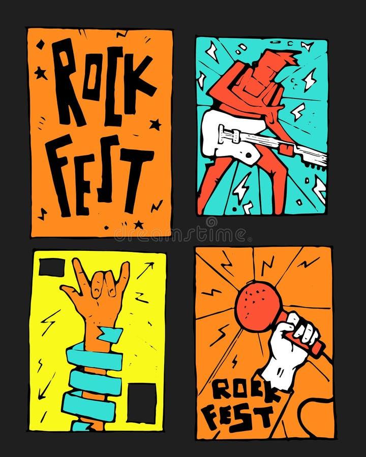 De affiche van het rockfestival stock illustratie