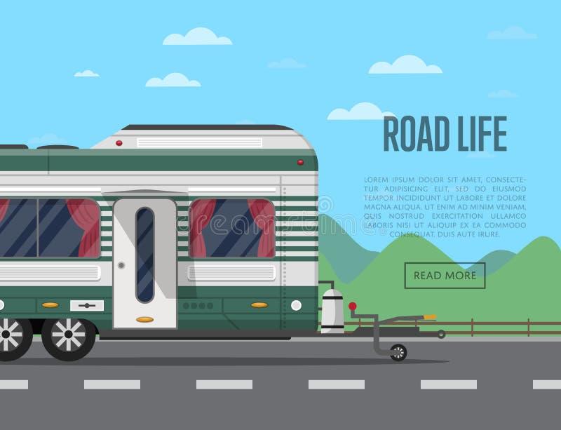 De affiche van het wegleven met het kamperen aanhangwagen royalty-vrije illustratie