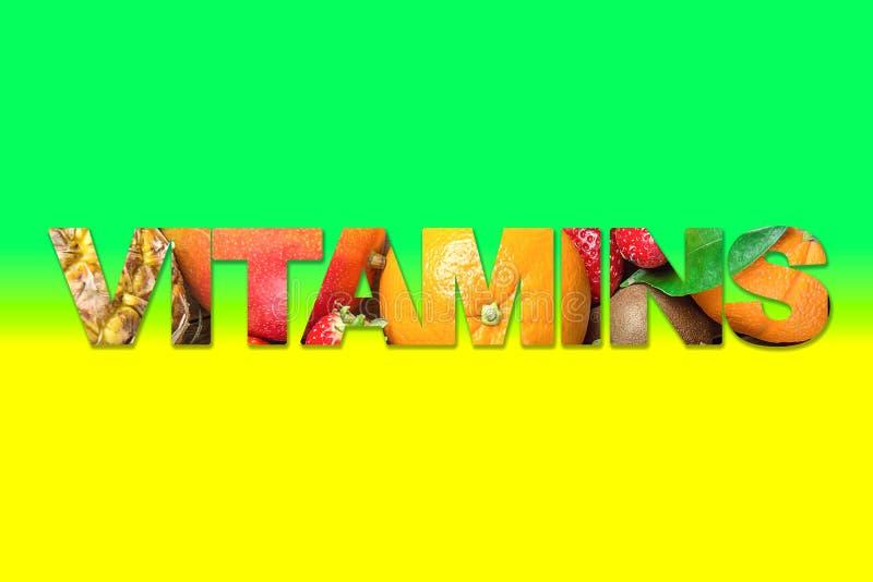 De Affiche van de hoge Resolutiebanner met Word Vitaminen Binnenbeeld van Tropische de Zomer Seizoengebonden Vruchten de Mangosin stock foto's