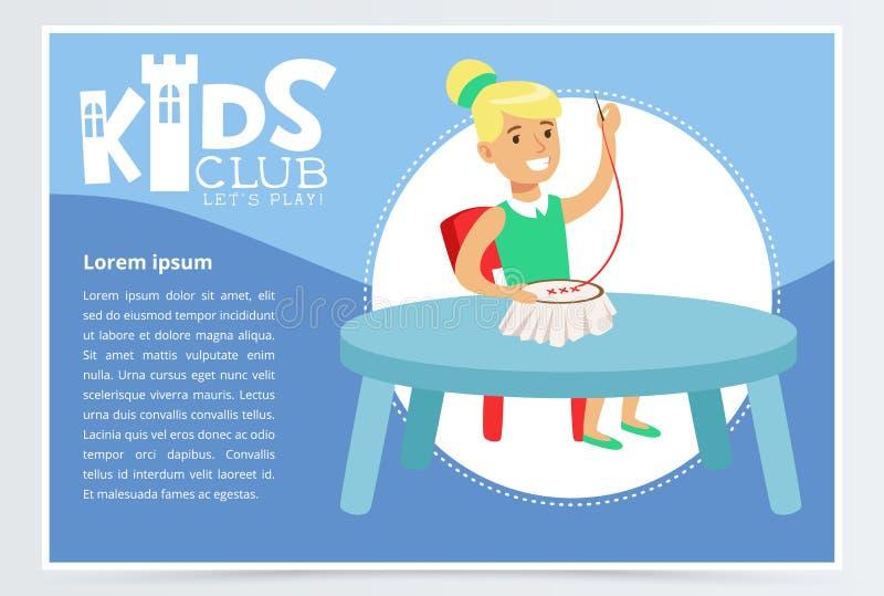 De affiche van de jonge geitjesclub met de leuke zitting van het meisjeskarakter bij de lijst en het doen van handwerk Dwarssteek stock illustratie