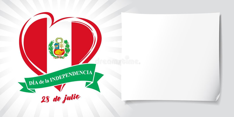 De affiche van liefdeperu met vlag en de Spaanse Dag van de tekstonafhankelijkheid, 28 Juli stock illustratie