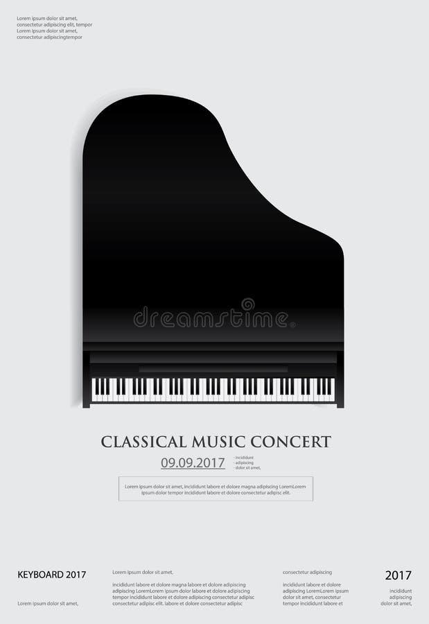 De Affiche van de muziek Groot Piano Malplaatje Als achtergrond stock illustratie