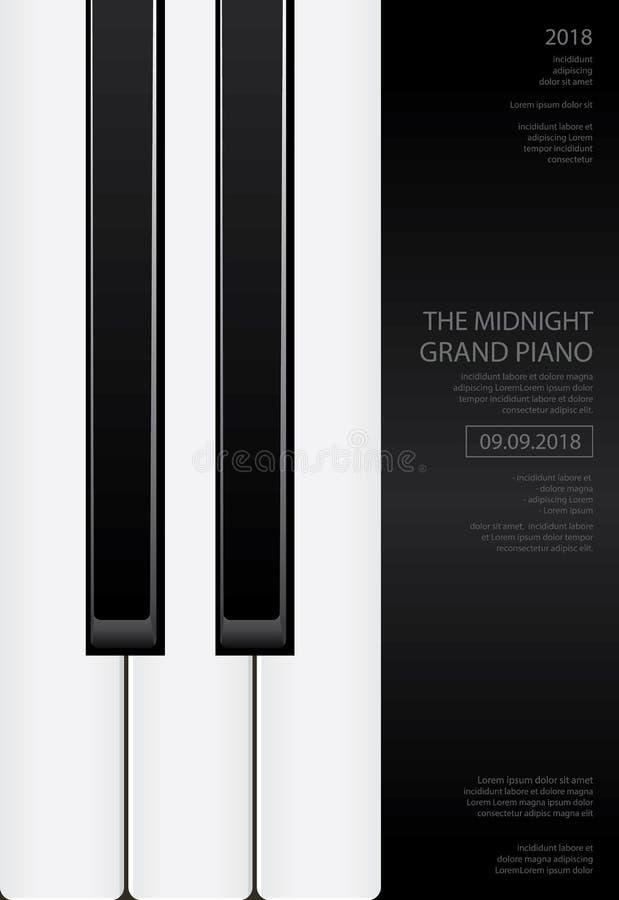 De Affiche van de muziek Groot Piano Malplaatje Als achtergrond royalty-vrije illustratie