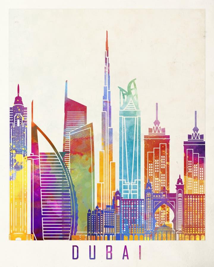 De affiche van de de oriëntatiepuntenwaterverf van Doubai vector illustratie