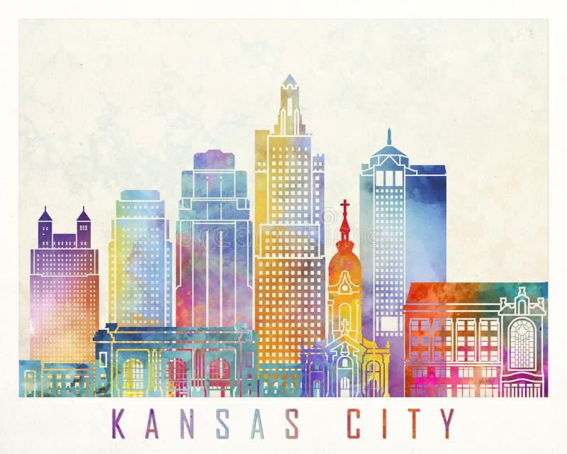 De affiche van de de oriëntatiepuntenwaterverf van Kansas City vector illustratie