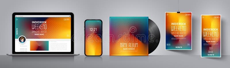 De affiche van de partij Het brandmerken ontwerp Abstract banner vectormalplaatje Behangachtergrond voor smartphone Modern malpla royalty-vrije illustratie