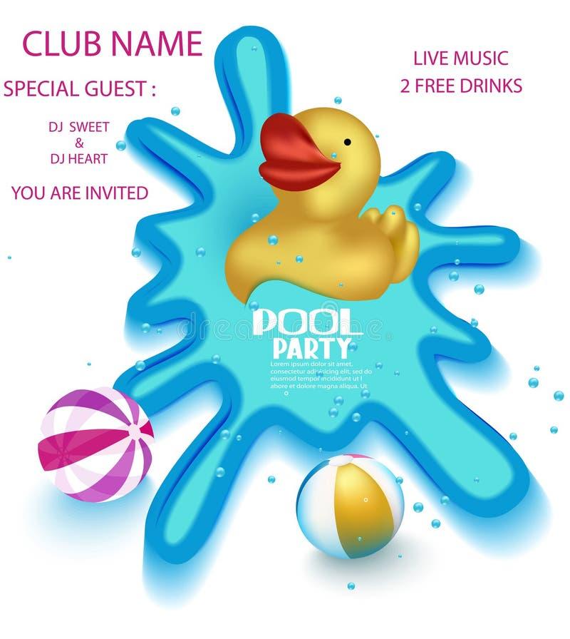 De affiche van de poolpartij met grote gele rubbereend in een sweaming pool stock illustratie