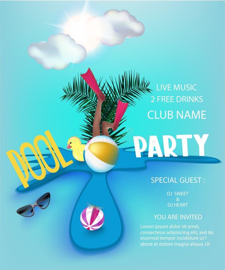 De affiche van de poolpartij met opblaasbaar speelgoed in een vulklei, wolken en zon vector illustratie