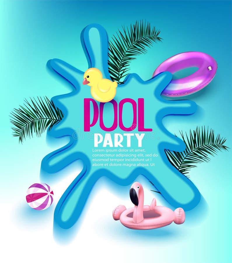 De affiche van de poolpartij met opblaasbaar speelgoed, palmtakken en vulklei royalty-vrije illustratie