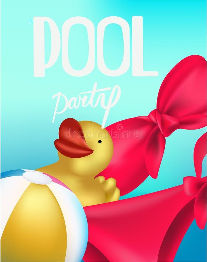 De affiche van de poolpartij met opblaasbare ballen en rubberstuk speelgoed en bikini vector illustratie