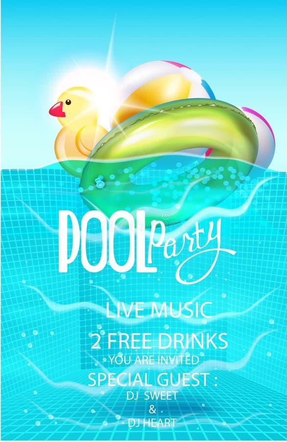 De affiche van de poolpartij met opblaasbare ballen en rubberstuk speelgoed in zwembadwater royalty-vrije illustratie
