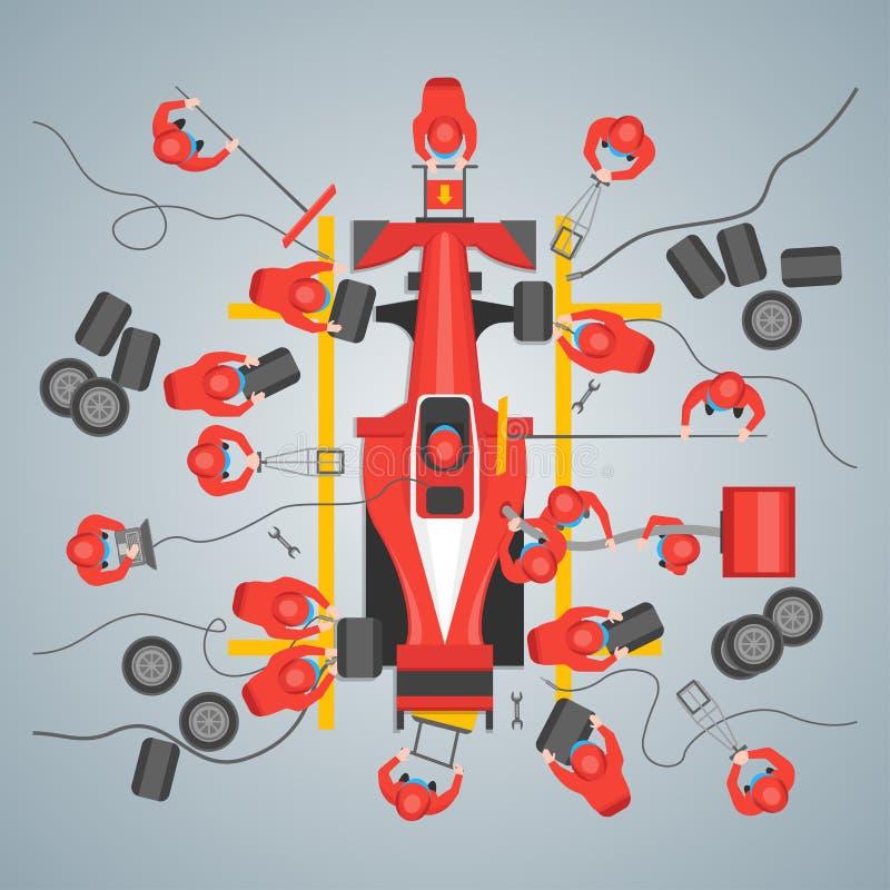 De Affiche van de de Raceautokaart van het beeldverhaalonderhoud Vector royalty-vrije illustratie
