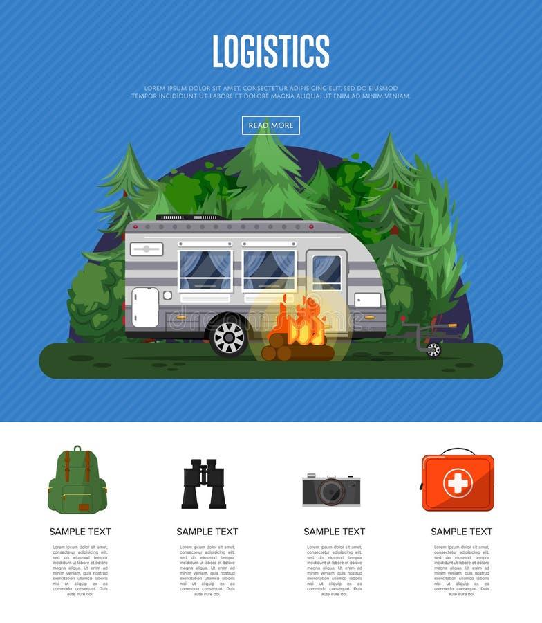 De affiche van de reislogistiek met het kamperen aanhangwagen stock illustratie