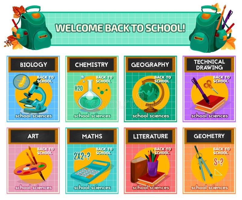 De affiche van schoolonderwerpen voor terug naar schoolontwerp vector illustratie