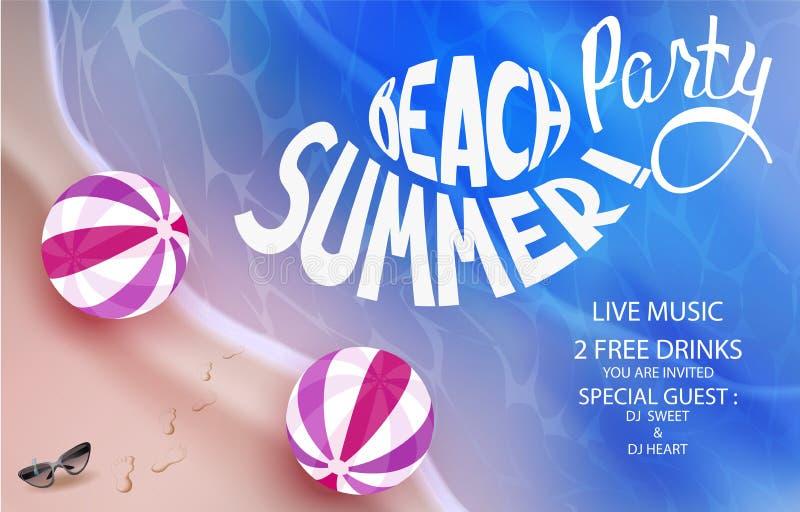 De affiche van de strandpartij met opblaasbaar ballen en strand stock illustratie