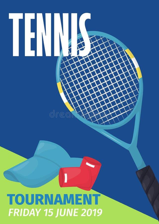 De affiche van tennistoernooien met van de het schildvlieger van de tennisbal ontwerp van de het malplaatje het vectorillustratie vector illustratie