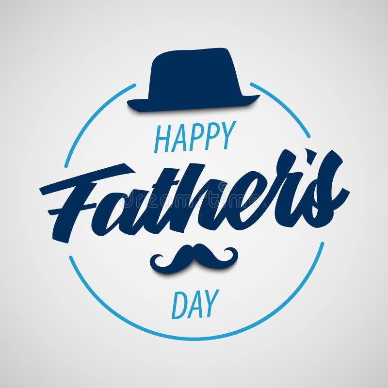 De affiche van de vadersdag met hoed en snor in blauw ontwerp stock illustratie