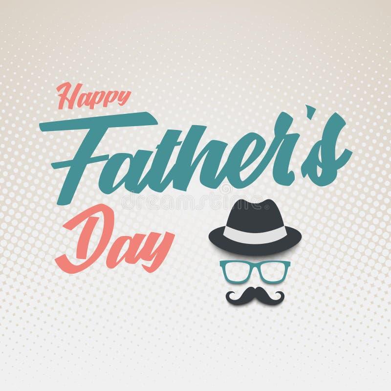 De affiche van de vadersdag met hoedenglazen en snormalplaatje royalty-vrije illustratie