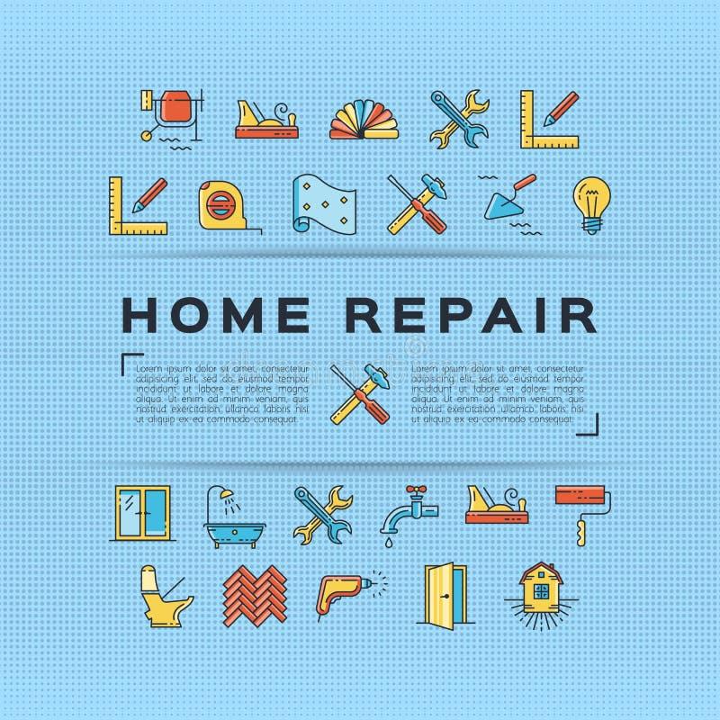 De affiche van de de vliegerbouw van de huisreparatie Het huis remodelleert de dunne pictogrammen van de lijnkunst Vector vector illustratie