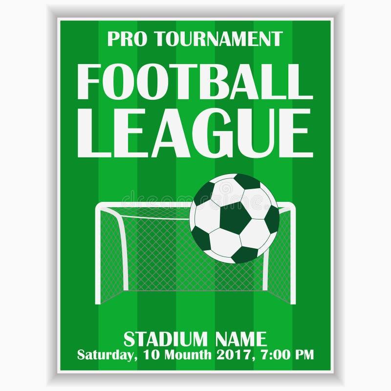 De affiche van de voetballiga Ontwerpmalplaatje voor de uitnodigingskaart van de voetbalsport op spel Vector royalty-vrije illustratie