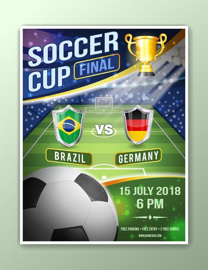 De affiche van de voetbalvoetbal stock illustratie