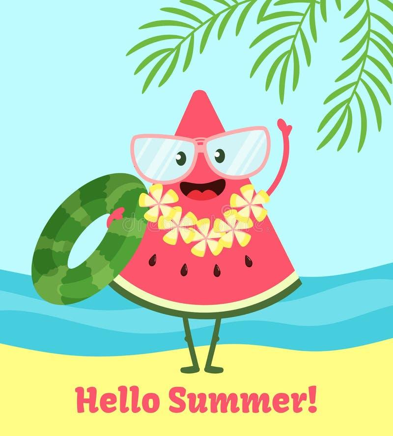 De affiche van de watermeloenzomer Afficheontwerp met vectorwatermeloenkarakter, grappige achtergrond stock illustratie