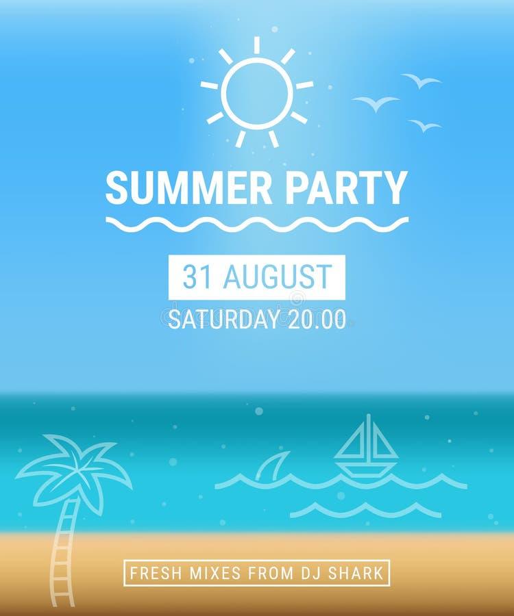 De affiche van de de zomerpartij met achtergrond stock fotografie