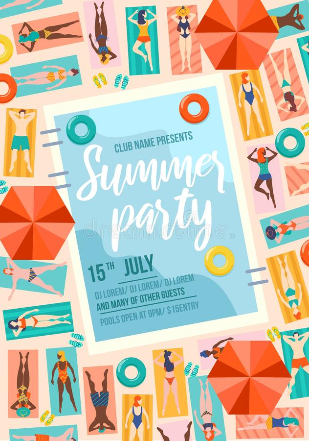 De in affiche van de de zomerpartij met pool en mensen Van de de zomerverkoop of uitnodiging ontwerpsjabloon De mensen op vakanti vector illustratie