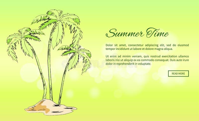 De Affiche van de de zomertijd met Palmen die op Zand groeien stock illustratie