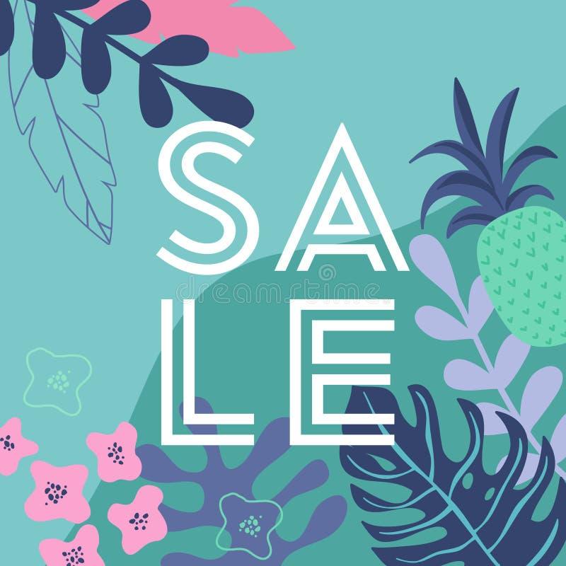 De affiche van de de zomerverkoop met keerkring gaat weg en bloeit, reclamebanner en tropische achtergrond in moderne vlakke stij royalty-vrije illustratie