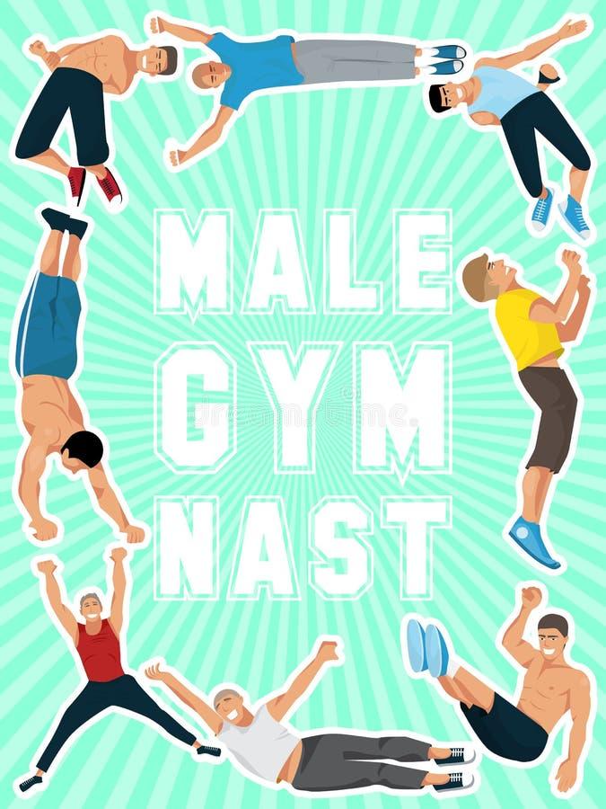 De affiche vectorillustratie van de atletenmens Gymnastiek opleiding Het uitoefenen van mannelijke turner in verschillend stelt D stock illustratie