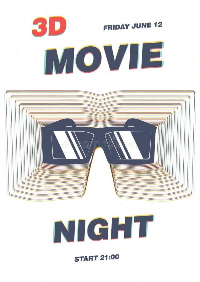 De affiche, vlieger of aanplakbiljet het malplaatje voor filmpremière, de filmnacht, het filmfestival of de bioskoop tonen met 3d vector illustratie