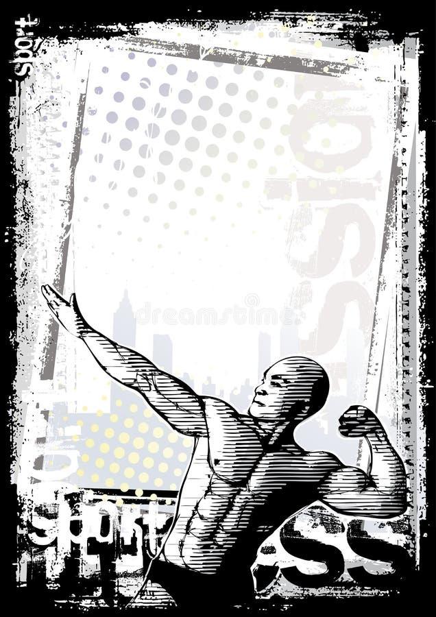 De afficheachtergrond van de bodybuilder vector illustratie