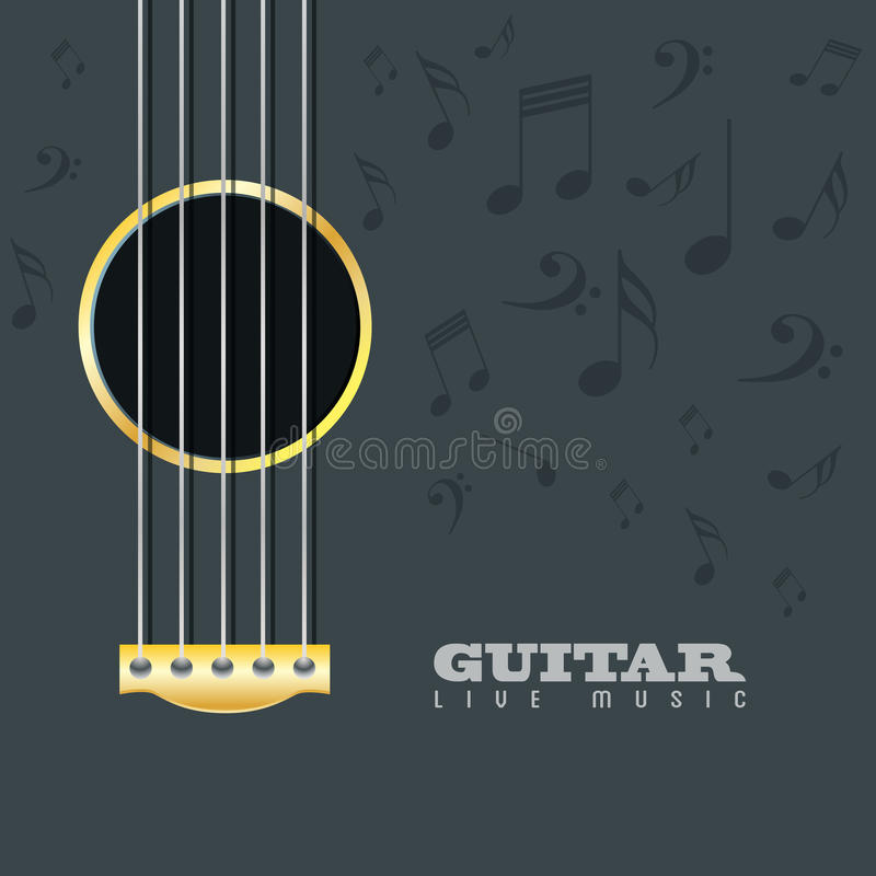 De afficheachtergrond van de gitaar levende muziek stock illustratie