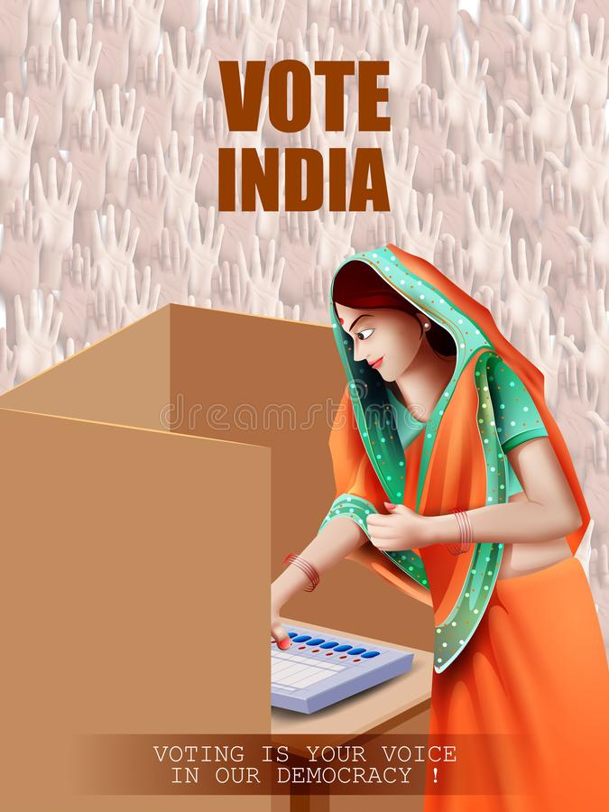 De affichebanner toont hand van Indische mensen voor verkiezing en van de stemopiniepeiling campagne van India royalty-vrije illustratie