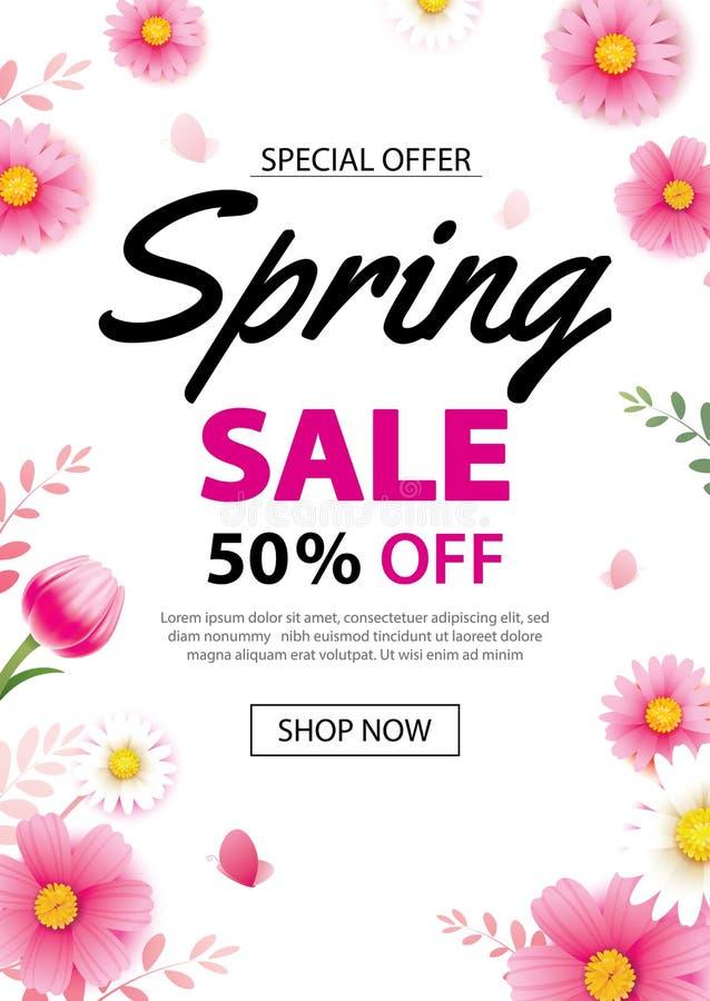 De affichebanner van de de lenteverkoop met bloeiend bloemenmalplaatje als achtergrond Ontwerp voor reclame, bon, vliegers, broch stock illustratie