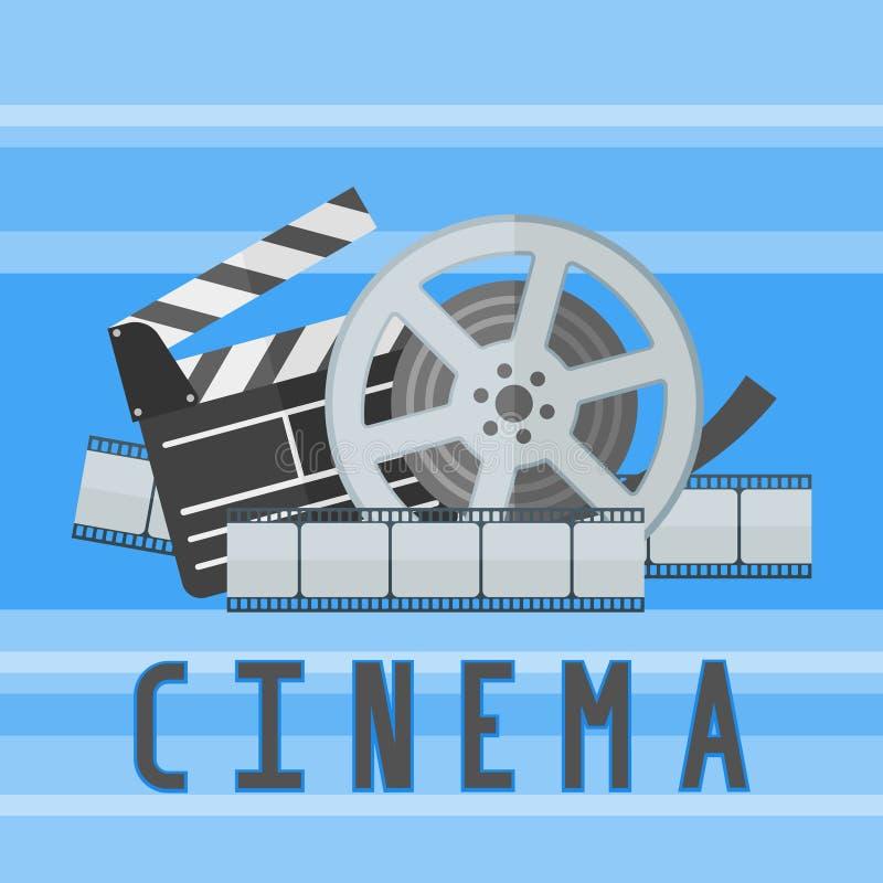 De affichemalplaatje van de bioskoopfilm met filmspoel, strook en kleppenraad vector illustratie